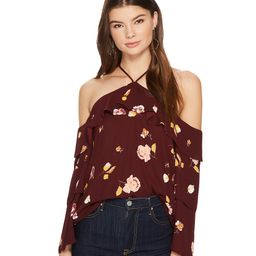 1.STATE - Cold Shoulder Blouse w/ Tiered Sleeves (Deep Claret) Women's Blouse   Zappos