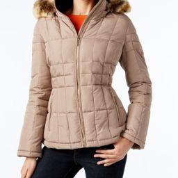 Calvin Klein Faux-Fur-Trim Quilted Coat | Macys (US)