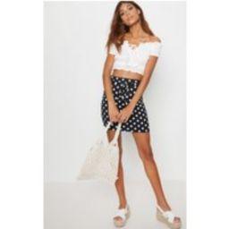 Black Jersey Polkadot Asymmetric Skirt | Pretty Little Thing UK