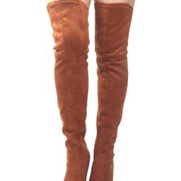Thigh High Boots Brown Stretch Boots Pointed Toe High Heel Over Knee Boots For Women   Milanoo