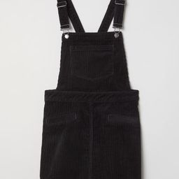H & M - Corduroy Bib Overall Dress - Black   H&M (US)