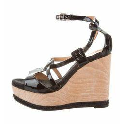 Hermès Platform Wedge Sandals Black | The RealReal