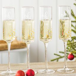 Clear 'Oh What Fun' Gold Dot Champagne Flutes   zulily