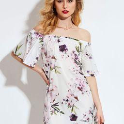 White Mini Dress Off The Shoulder Half Sleeve Floral Printed Short Dress | Milanoo