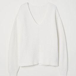 H & M - V-neck Cotton Sweater - White | H&M (US)