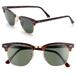Men's Ray-Ban Classic Clubmaster 51Mm Sunglasses - Dark Tortoise/ Green | Nordstrom
