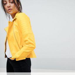 Noisy May Tall Rebel Biker Jacket - Yellow | ASOS US