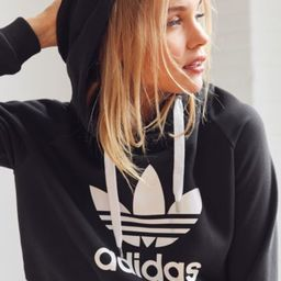 adidas Originals Trefoil Cropped Hoodie Sweatshirt - Black XS at Urban Outfitters | Urban Outfitters US