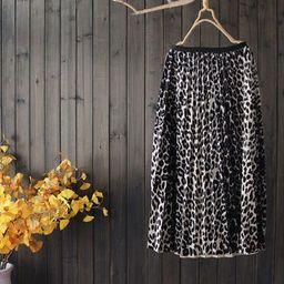 Leopard Pleated Midi Skirt Leopard - One Size   YesStyle Global