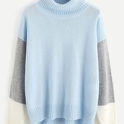 Roll Neck Color Block Staggered Jumper | SHEIN