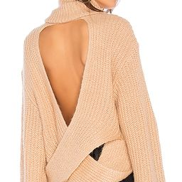 KENDALL + KYLIE Cross Back Turtleneck Sweater in Tan. - size L (also in M) | Revolve Clothing
