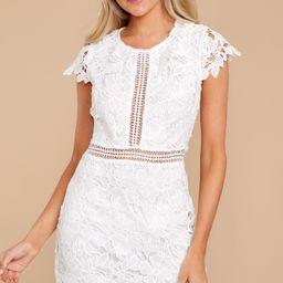 Classic Night White Lace Dress   Red Dress