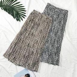 Pleated Leopard-Print Midi Skirt   YesStyle Global