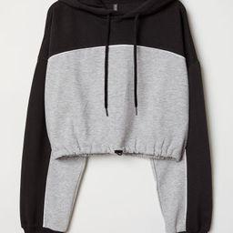 H & M - Short Hooded Sweatshirt - Black   H&M (US)