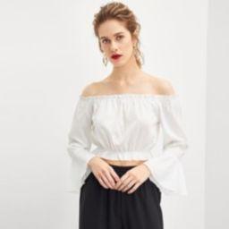 Bell Sleeve Crop Bardot Blouse | SHEIN