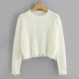 Raw Hem Geo Pattern Crop Sweater | SHEIN