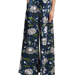 Floral-Print Wide-Leg Satin Pants, Blue Pattern | Bergdorf Goodman
