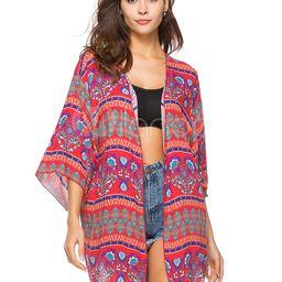 Kimono Cover Ups Boho Printed Red Women Beach Bathing Suit   Milanoo