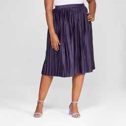 Women's Plus Size Pleated Midi Skirt - Ava & Viv Purple 1X   Target