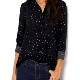Polka Dot Spotted With Buttons Blouse | SHEIN