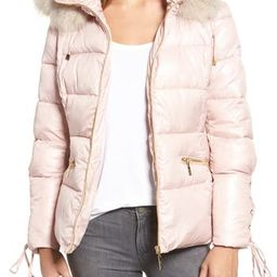 Women's Kensie Lace Sleeve Puffer Coat With Faux Fur Trim Hood, Size X-Large - Pink   Nordstrom