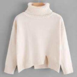 Turtleneck Raw Cut Dip Hem Sweater | SHEIN