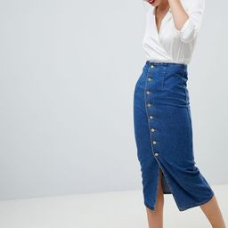 ASOS DESIGN denim midi skirt with buttons in midwash blue - Blue | ASOS US