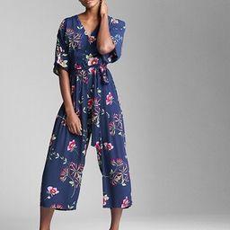 Gap Womens Short Sleeve V-Neck Jumpsuit Navy Floral Size 0 | Gap US