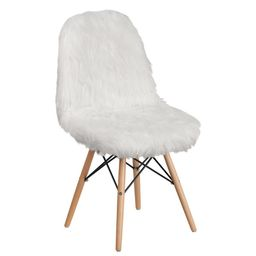 Faux Yeti Fur Accent Chair, White | Houzz