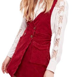 Women's Free People Canyonlands Corduroy Pinafore Dress, Size 0 - Red   Nordstrom