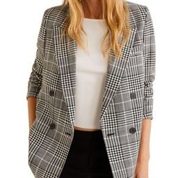 Double-Breasted Checked Blazer   The Bay
