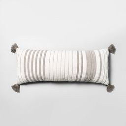Lumbar Pillow Oversized Stripe Gray & Sour Cream - Hearth & Hand with Magnolia | Target