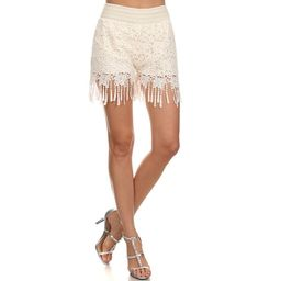 Women's Fringed White Crochet Lace Shorts | Overstock