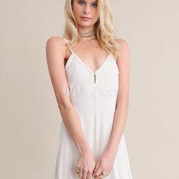 Women's White Romper Strappy V Neck Sleeveless Pleated Short Playsuit   Milanoo