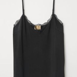 H & M - Jersey Camisole Top with Lace - Black | H&M (US)