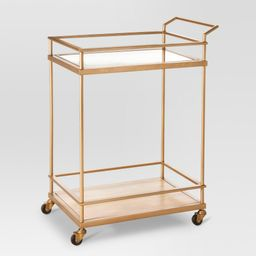 Wood & Glass Gold Finish Bar Cart - Threshold | Target