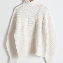 Oversized Cable Knit Turtleneck - Beige | & Other Stories