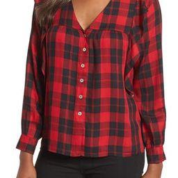 Women's Bobeau Ruffled Plaid Shirt, Size X-Large - Red | Nordstrom