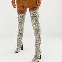 ASOS DESIGN Kalise stretch thigh high boots in Snake - Multi   ASOS US