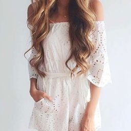 Women White Romper Off The Shoulder Cut Out Summer Sexy Playsuit   Milanoo