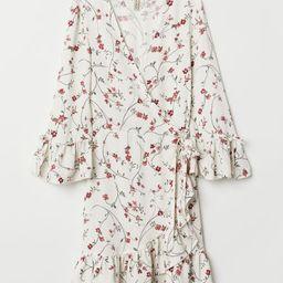 H & M - Patterned Wrap-front Dress - White   H&M (US)
