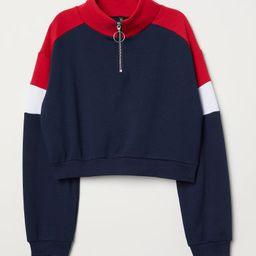 H & M - Stand-up Collar Sweatshirt - Blue   H&M (US)