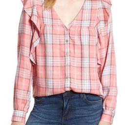 Women's Bobeau Ruffled Plaid Shirt, Size X-Small - Pink | Nordstrom