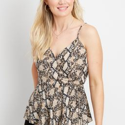 Snakeskin Wrap Front Tank   Maurices