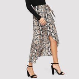 Snake Print Overlap Hem Skirt   SHEIN