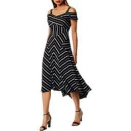 Karen Millen Cold-Shoulder Midi Dress, Black/White   John Lewis UK