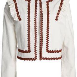 Ganni Woman Macramé-trimmed Ruffled Denim Jacket White Size 42 | The Outnet US
