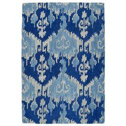Manhattan Hand-Tufted Blue Ikat Rug (5'0 x 7'6) | Overstock