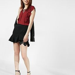 Express Womens Tie Neck Ruffle Front Cap Sleeve Blouse Red Women's L Red L | Express