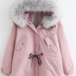 Simple Plain Faux Fur Hem Hooded Long Sleeve Zip Up Coat   Beautifulhalo.com